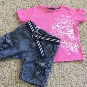 H&M pink T-shirt and blue shorts